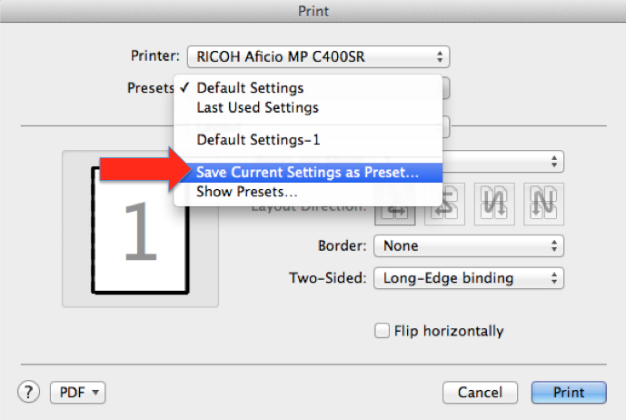 Choose Save Current Settings As Preset From The Presets Pop Up Menu